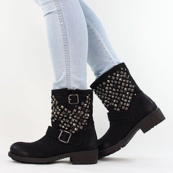 details zu coole boots stiefeletten nieten schwarz b7112. Black Bedroom Furniture Sets. Home Design Ideas