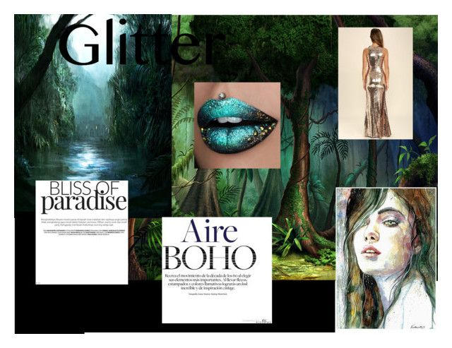 """""""Glitter Lips - Jungle Goddess"""" by persephone3401 ❤ liked on Polyvore featuring beauty, Rainforest, LULUS, jungle, lips, glitter and glitterlips"""