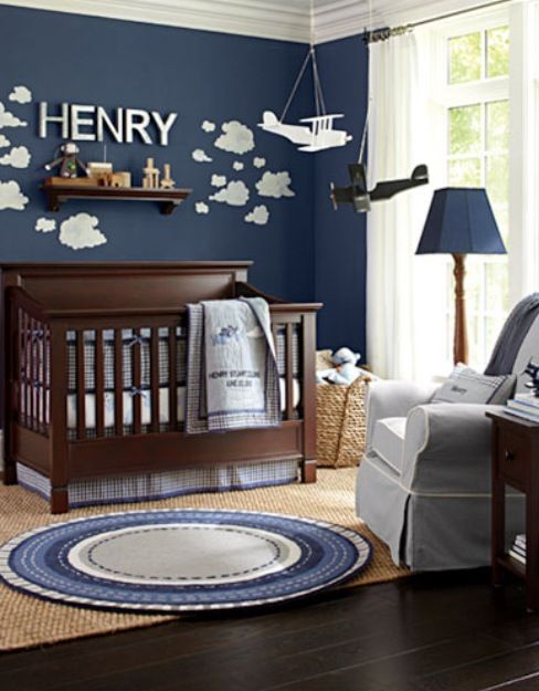 10 Ten Baby Boy Nursery Inspirations Name Stenciled On Wall With Clouds And Airplane Flying Through Air