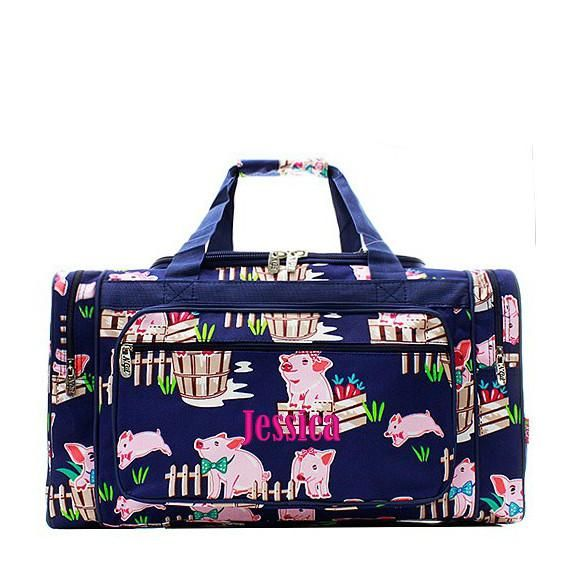 d1d7e0e0e07b Personalized Pig Navy Duffle Bag Large 23