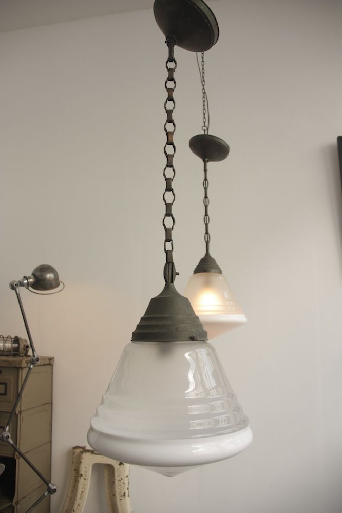 ART DECO PHILIPS GLASS PENDANTS WITH ORIGINAL SUSPENSION.