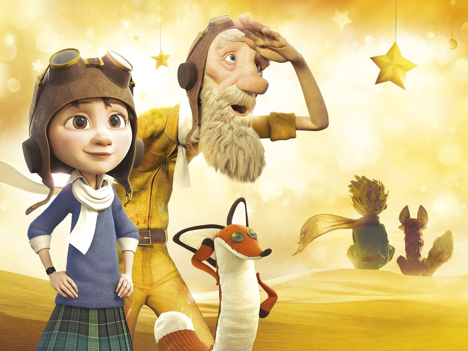The Little Prince 2015 cartoon movie, three 3d characters