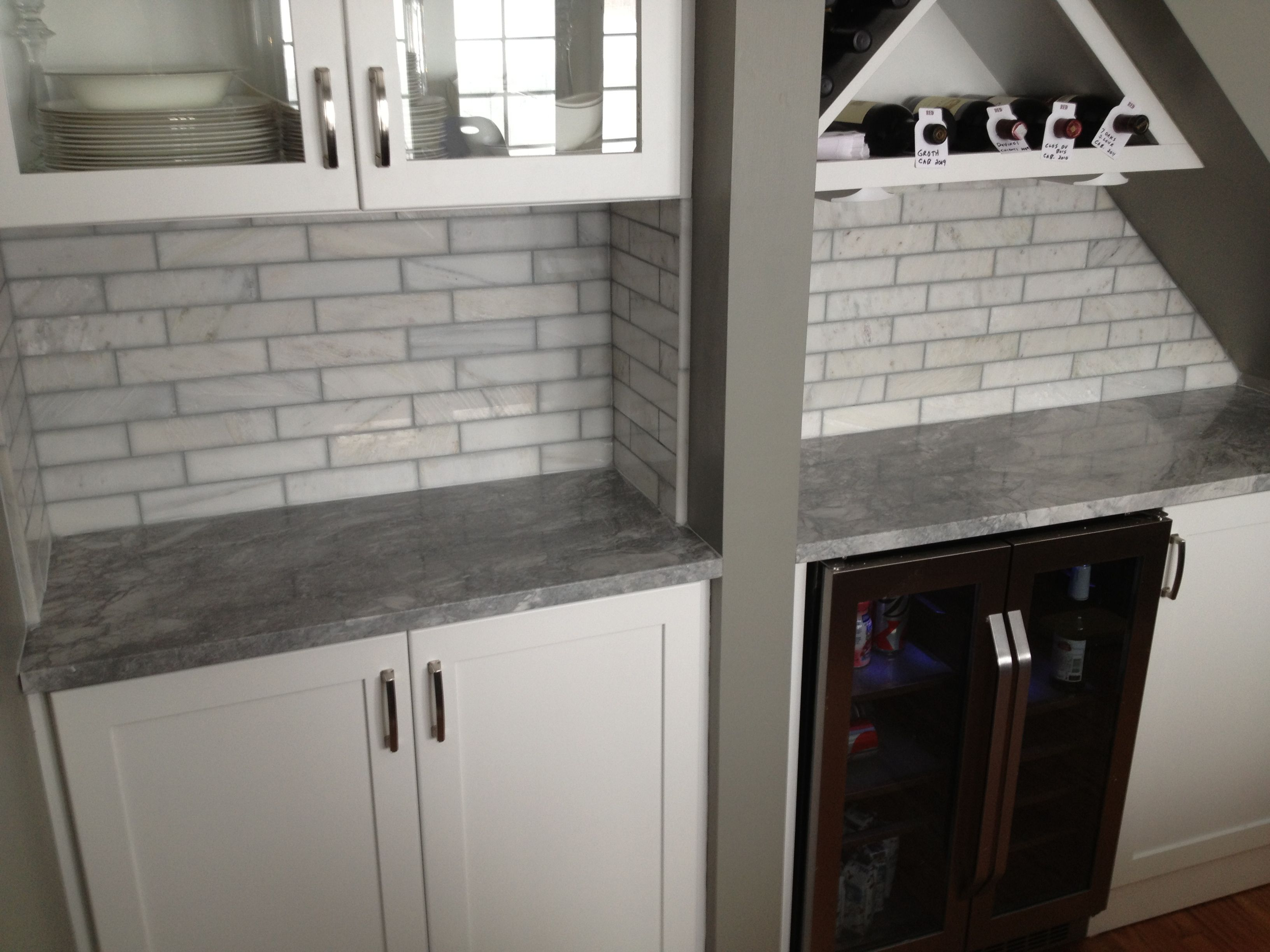 2x8 marble tile backsplash we installed in a home in Chicago