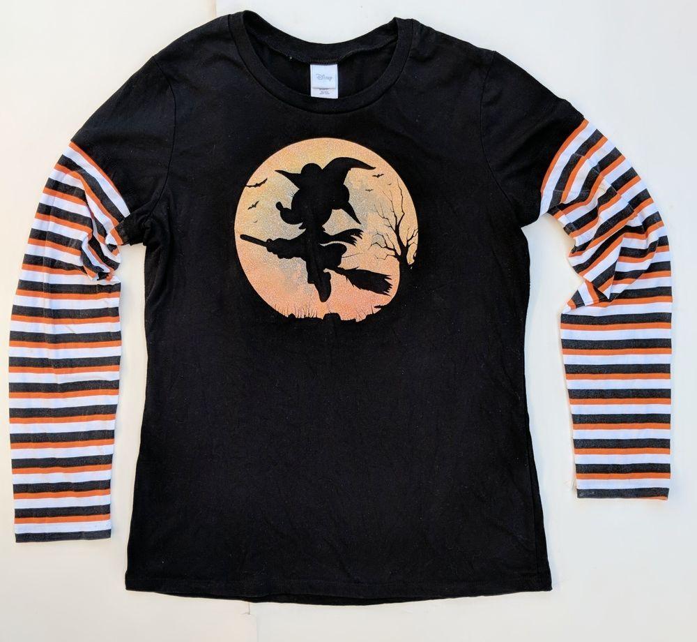 Minnie Mouse Halloween Shirt XXL18 Witch Disney Long Sleeve Juniors Black Orange #Disney #TShirt #Casual | Halloween shirt. Minnie mouse halloween ...
