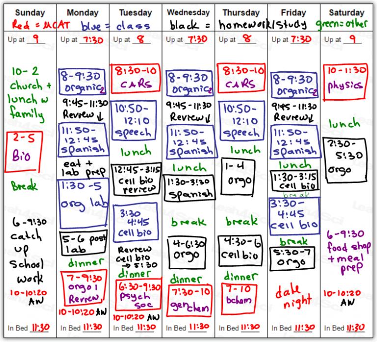 9 blocks for MCAT study per week | MCAT Prep | Mcat study tips