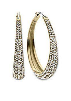 Michael Kors Michael Kors Brilliance Statement Hoops Earrings Gold Tone Crystal Pave MKJ3672