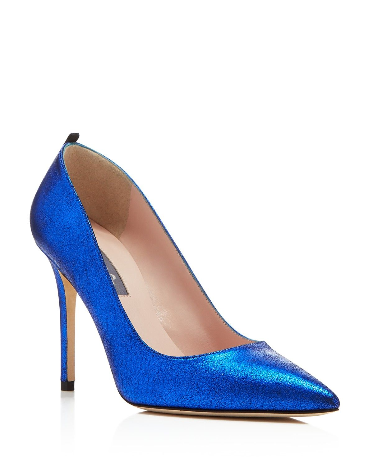SJP by Sarah Jessica Parker Fawn Metallic Pointed Toe High Heel Pumps -  Lustrous metallic leather