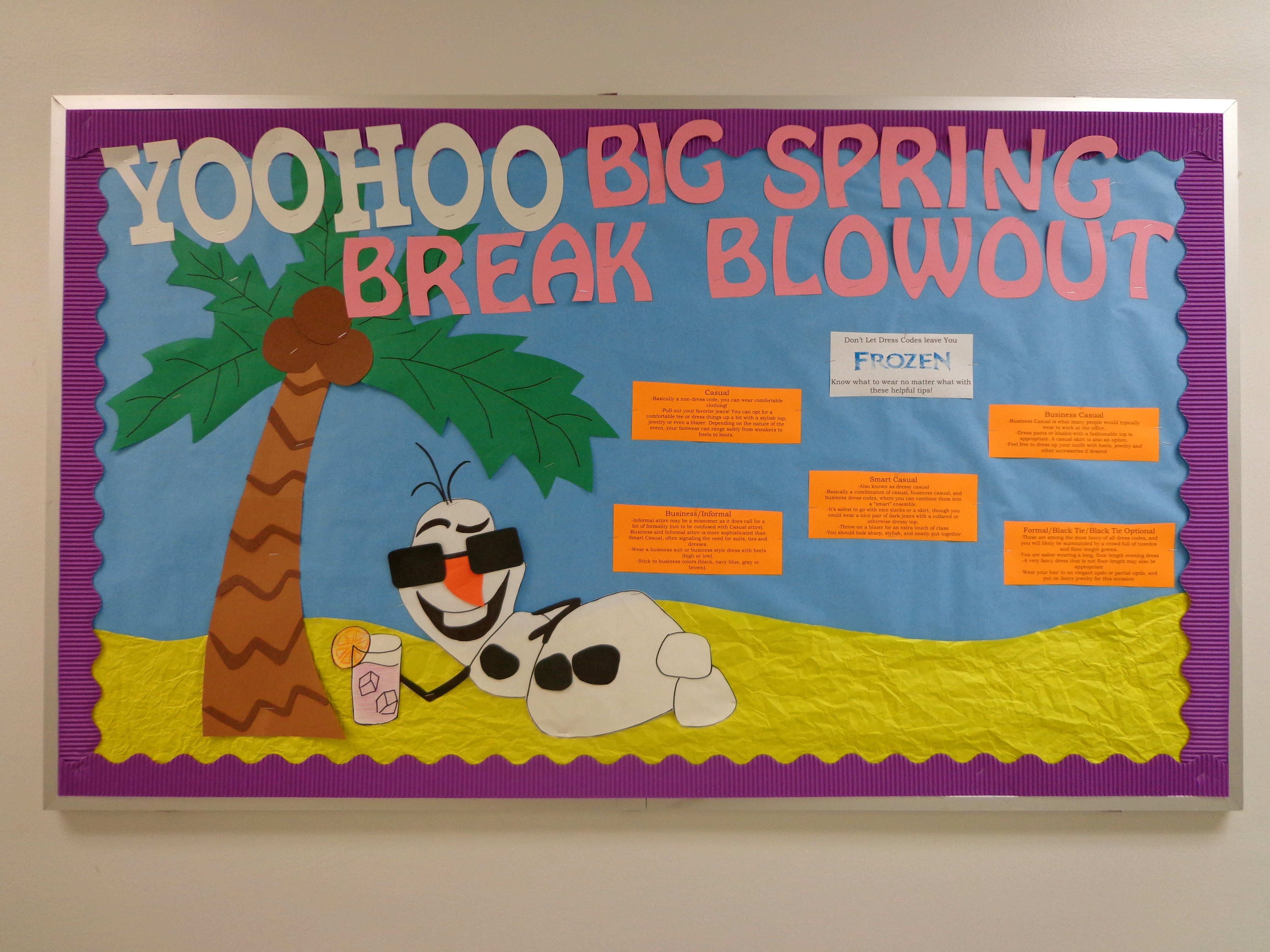 Resident Assistant Bulletin Board With Frozen Theme Featuring Olaf