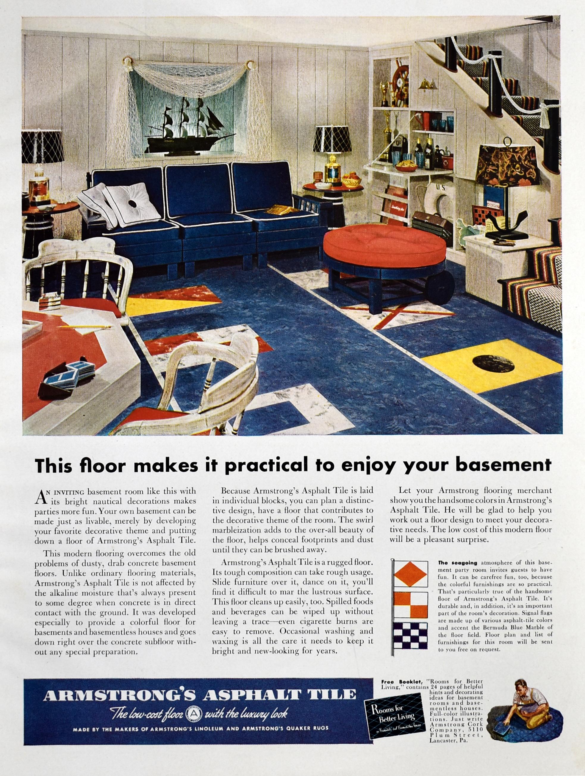 Vintage 1951 Armstrong Asphalt Tile Floor Ad Retro 50s Nautical Game Room Decor Retro Reveries Game Room Decor 1950s Decor Decor