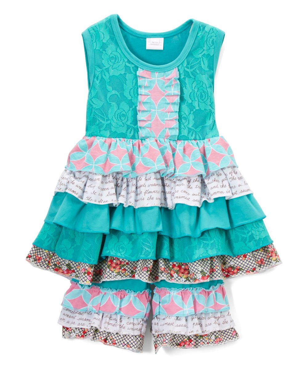 Blue Tiered Ruffle Tunic & Shorts - Infant Toddler & Girls