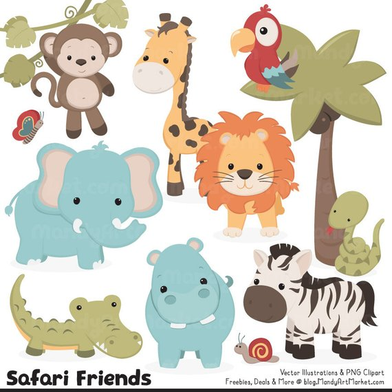 Cute Vintage Jungle Animal Clipart Cute Safari Clipart Etsy In 2021 Animal Clipart Jungle Animals Safari Animals