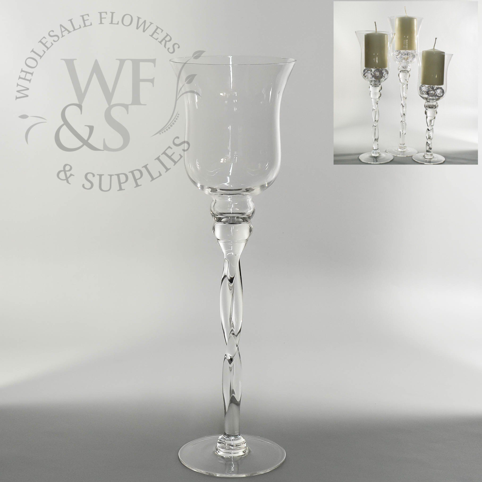 Twisted Clear Glass Vase/Candle Holder 15.7\