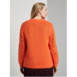 Photo of Tom Tailor My True Me Damen Strickpullover mit Zopfmuster, orange, Gr.46Tom-Tailor.de