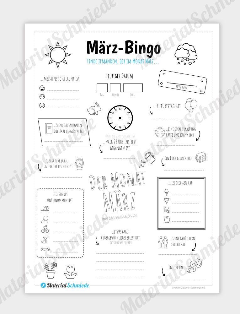 Bingo Monat Marz Digital In 2020 Bingo Steckbrief Sachkunde