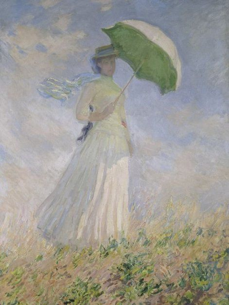 91x61cm Claude Monet Frau Mit Sonnenschirm 1886 Poster Plakat #52148