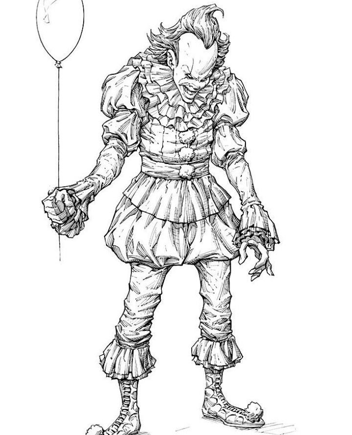 Pennywise The Dancing Clown Comic Drawing Ink Illustrations Adult Coloring Pages