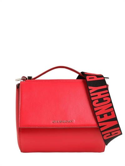 GIVENCHY - MINI PANDORA BOX LOGO STRAP LEATHER BAG - SHOULDER BAGS - RED -  Luisaviaroma - Height  15cm Width  18cm Depth  10cm. Detachable 072e18c20ee0e