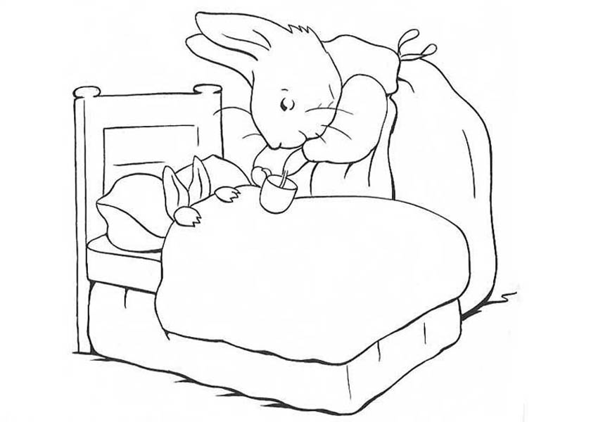 Peter Rabbit Mother Take Peter Rabbit Sister To Bed