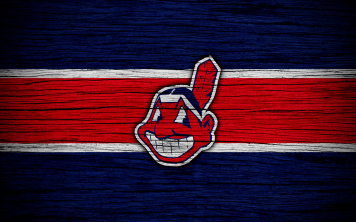 Lataa kuva Cleveland Indians, 4k, MLB, baseball, USA, Major League Baseball, puinen rakenne, art, baseball club