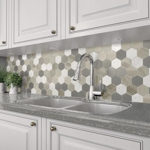 Mohawk Grand Terrace White Lace Hexagon 12 X 14 Gl And Stone Mosaic Tile Actual Size