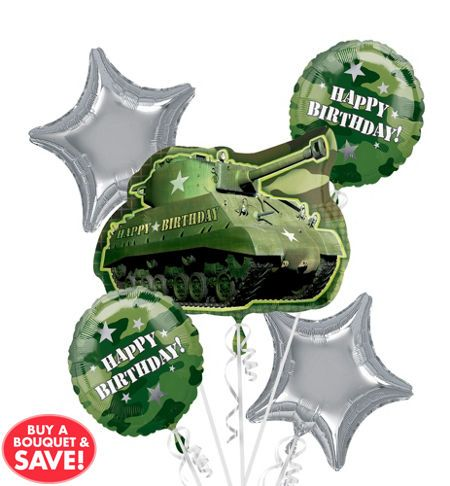 Army Tank Camouflage Party Supplies Birthday Balloon Bouquet Decorations