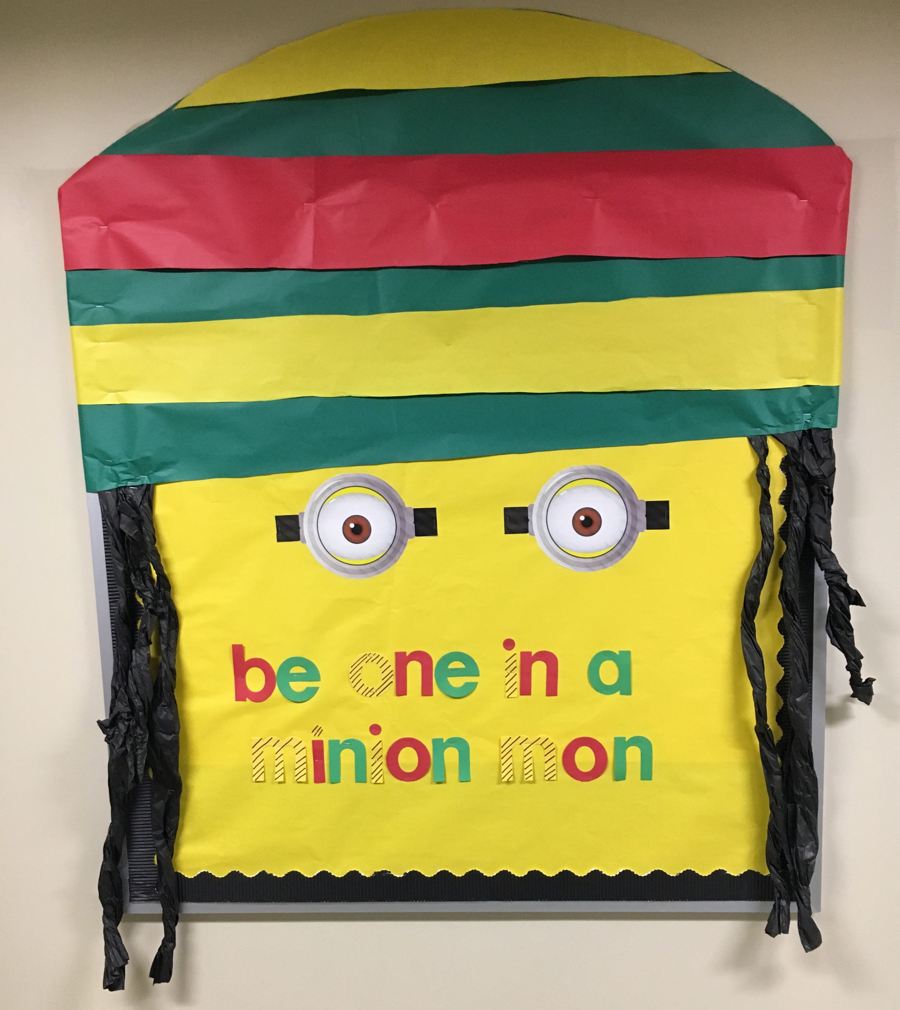 Bulletin board diversity jamaican minion with the saying