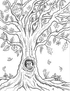 Free Printable Autumn Owl Tree Coloring Page Leaf Mosaic Tree