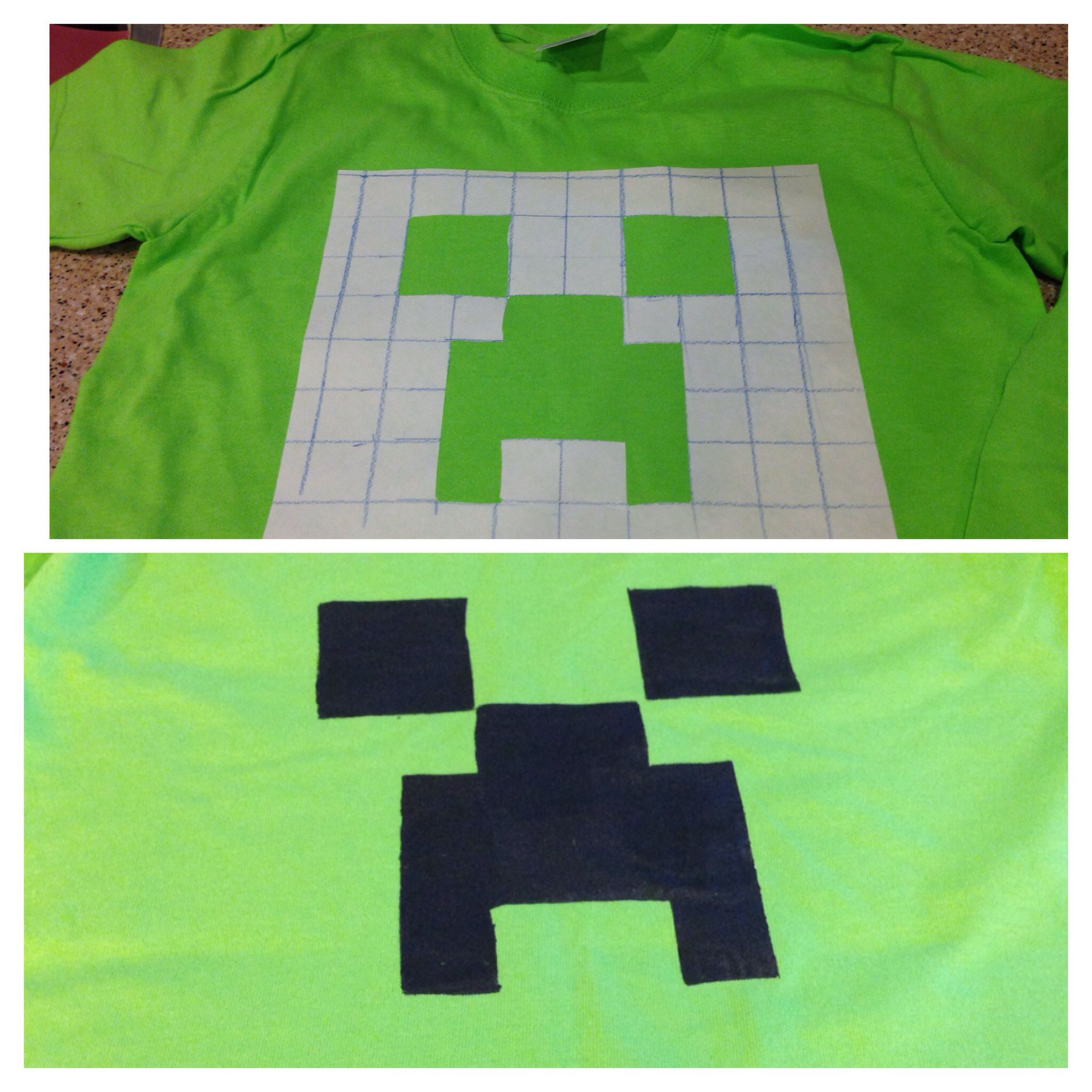 Diy Creeper T Shirt Freezer Paper Iron Fabric Paint Cut Out Your T