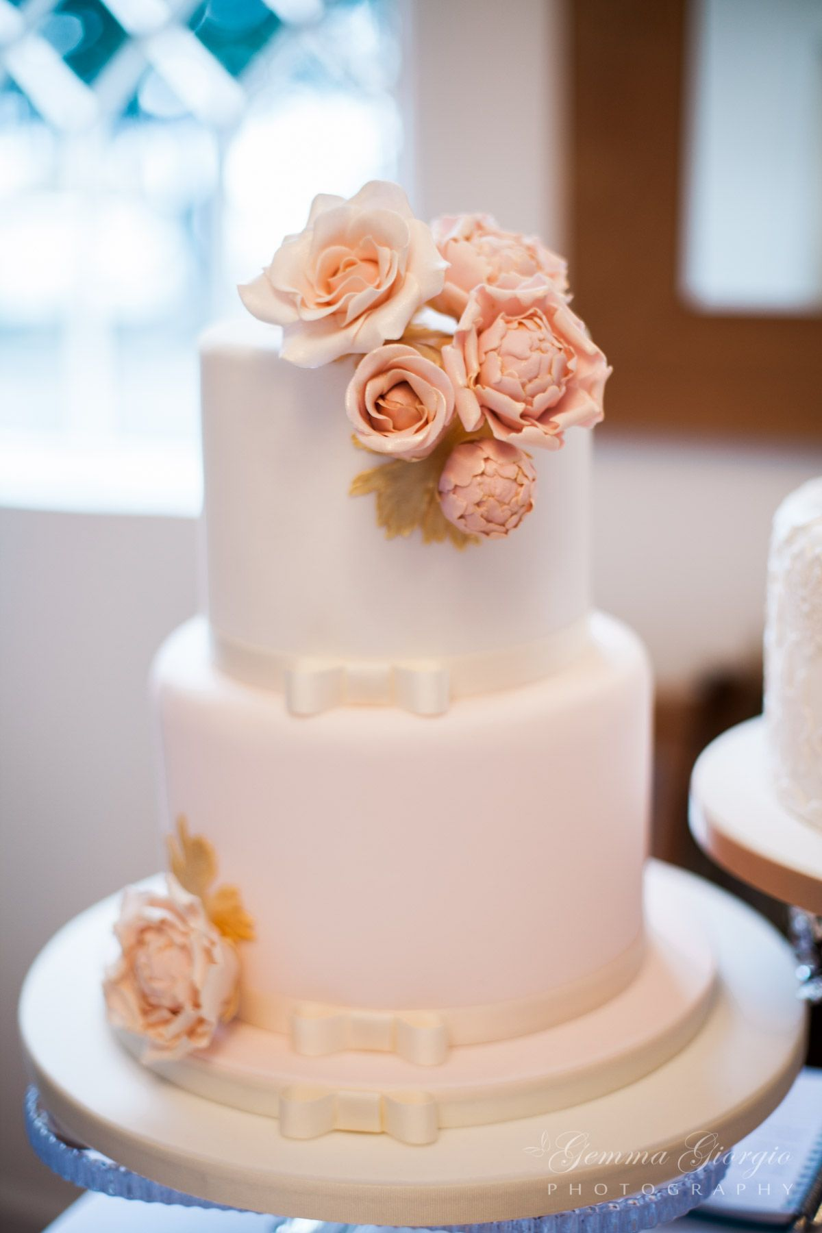 Blush Pink And Ivory 2 Tier Wedding Cake With Sugar Peonies Roses Gold Foliage From Sticky Fingers Co