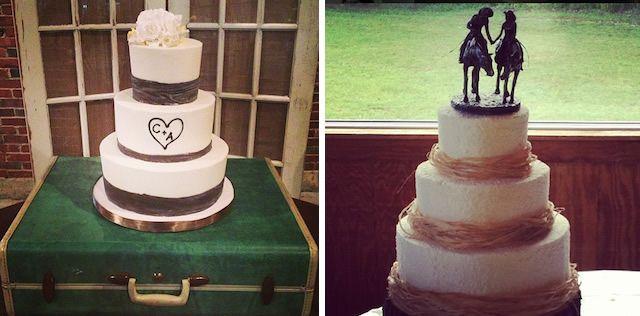 Western Style Cake, Bard Monogram Cake, Modern Wedding