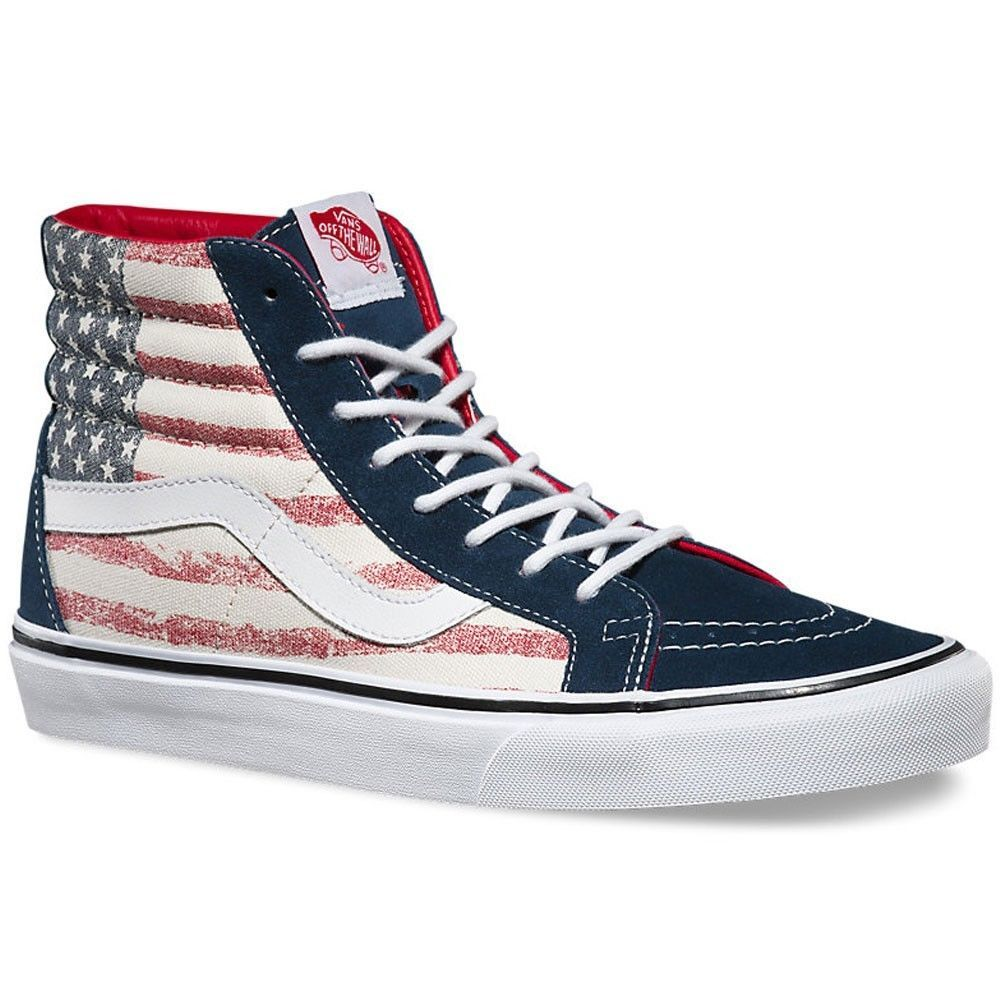 1ead7fdaa4 Vans Off the Wall Sk8 Hi Reissue American Flag Dress Blues Shoes Mens 11.5  Stars