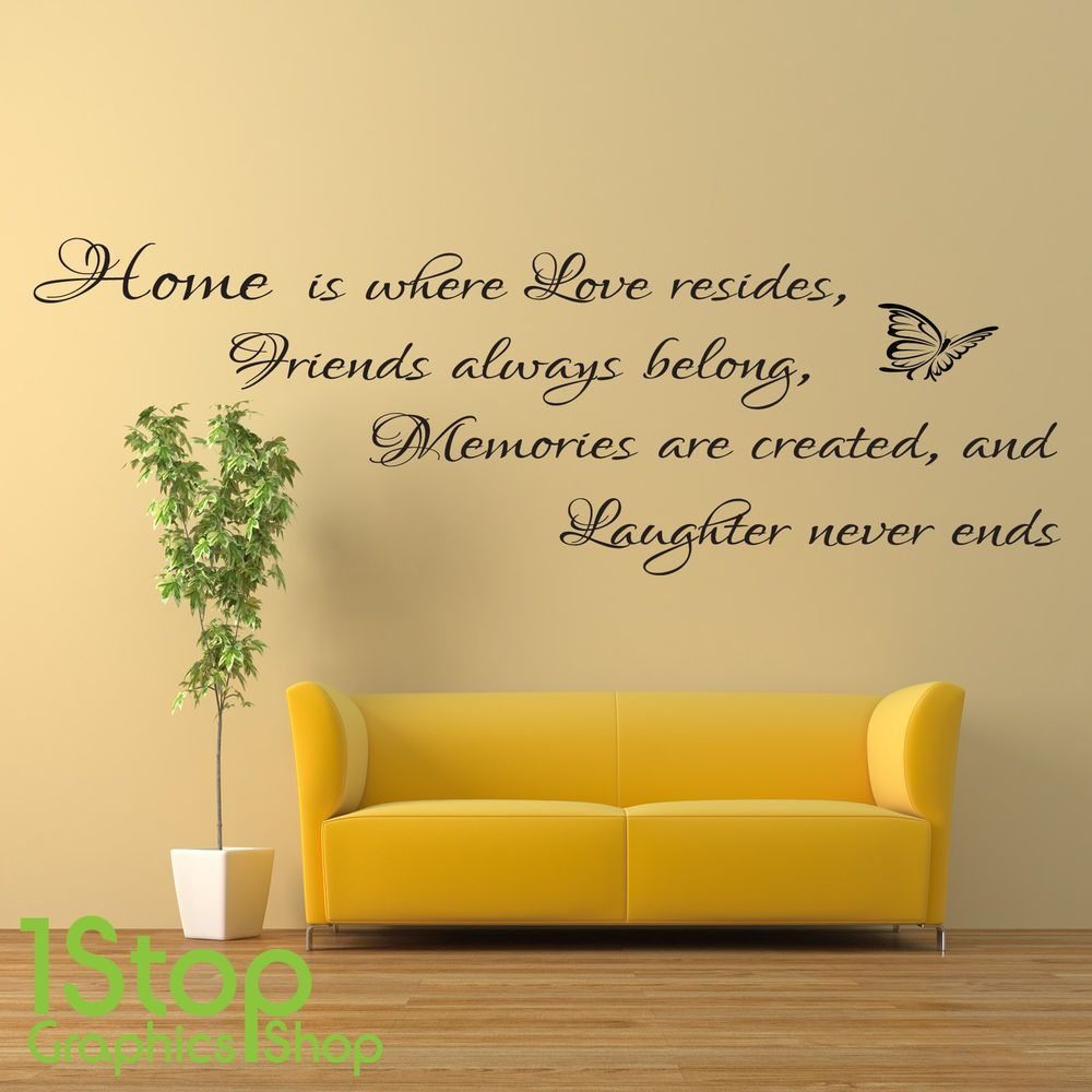 Home friends laughter wall sticker quote - bedroom lounge wall art ...