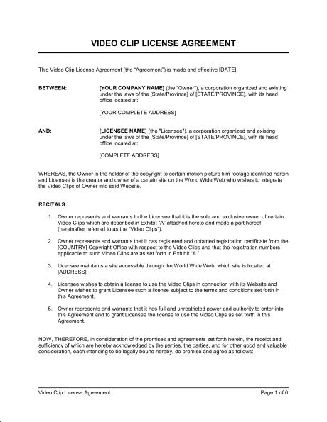 Video Clip License Agreement Template Amp Sample Form Biztree Com