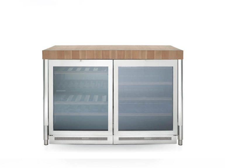 Stainless steel kitchen freestanding unit with refrigerator on legs ...