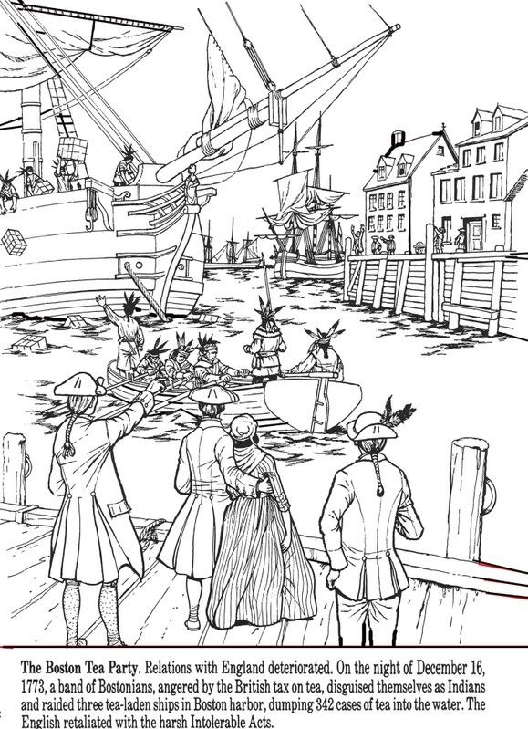 All Things John Adams: Coloring Pages: Boston Tea Party | Boston Tea ...