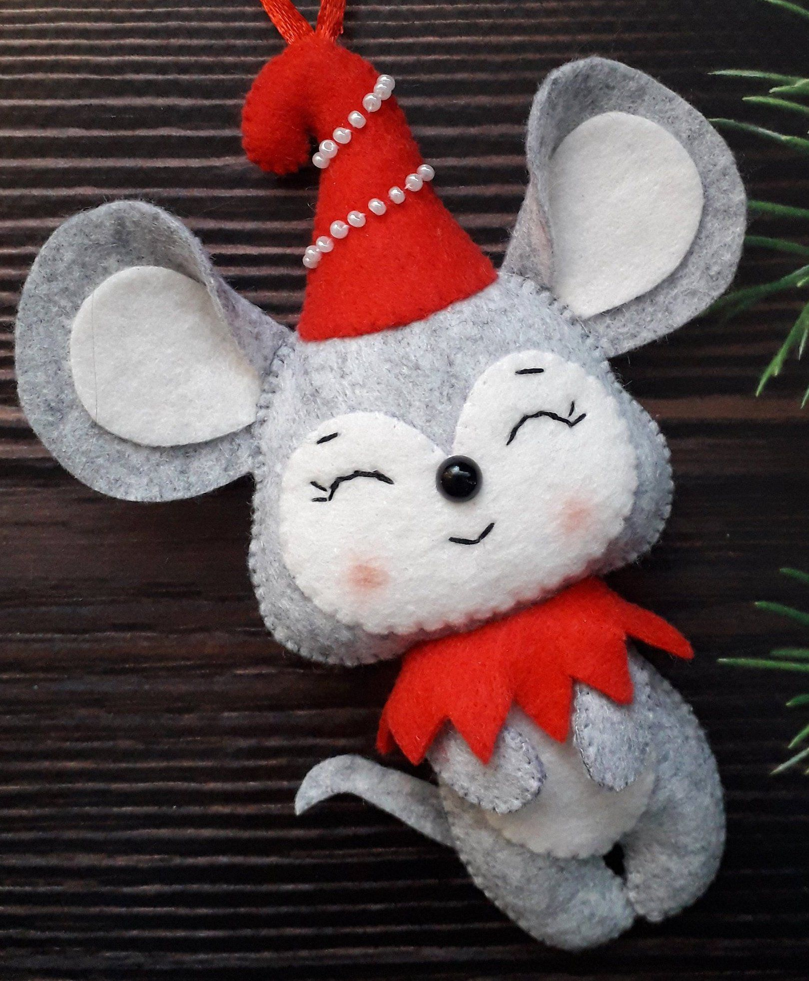 Christmas ornament felt mouse, felt mice, rat toy, winter mouse, Gray felt rat , felt ornament