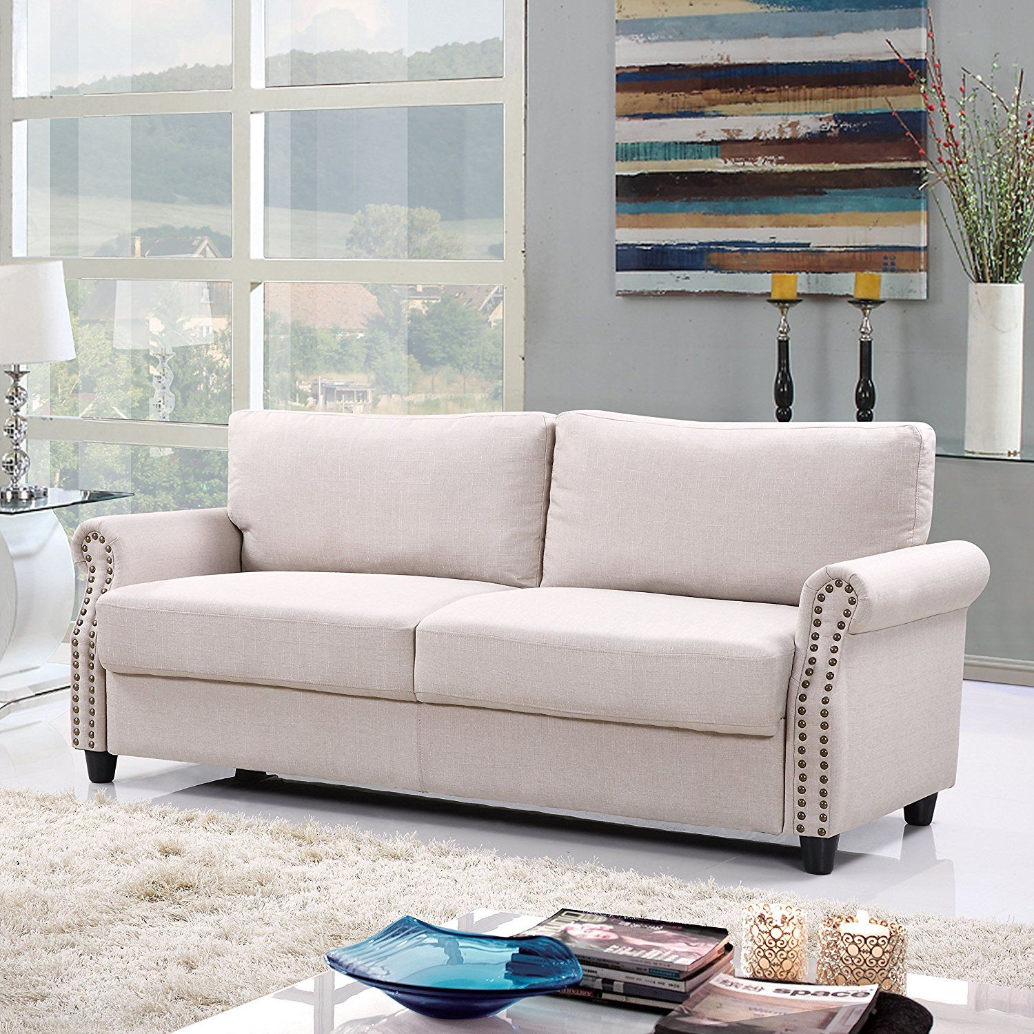 Living Room Designs Ideas With Classic Living Room Linen Sofa with ...