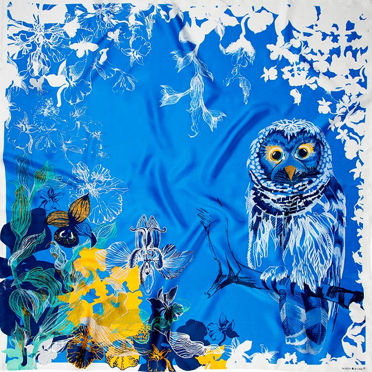 From the S/S 2015 collection by Marja Kurki Finland. #silk #scarves #owls #silkscarf #fashion
