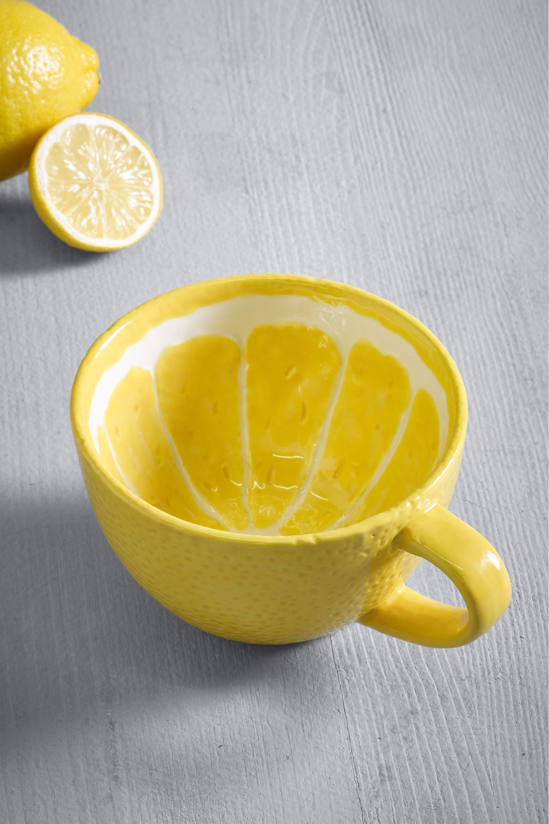 Next Lemon Shaped Mug Yellow In 2020 Clean Microwave