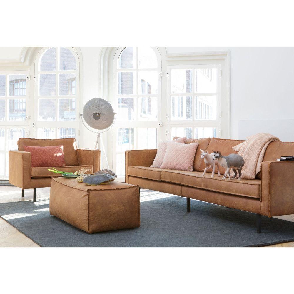 Grand canapé 4 places vintage en éco cuir Bronco