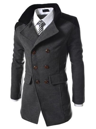 iPretty Herren Winterjacke Mantel lange Wolljacke Männer