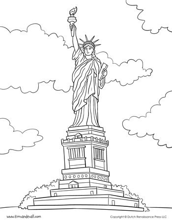 a printable coloring page of the statue of liberty for social studies or a fourth of july activity