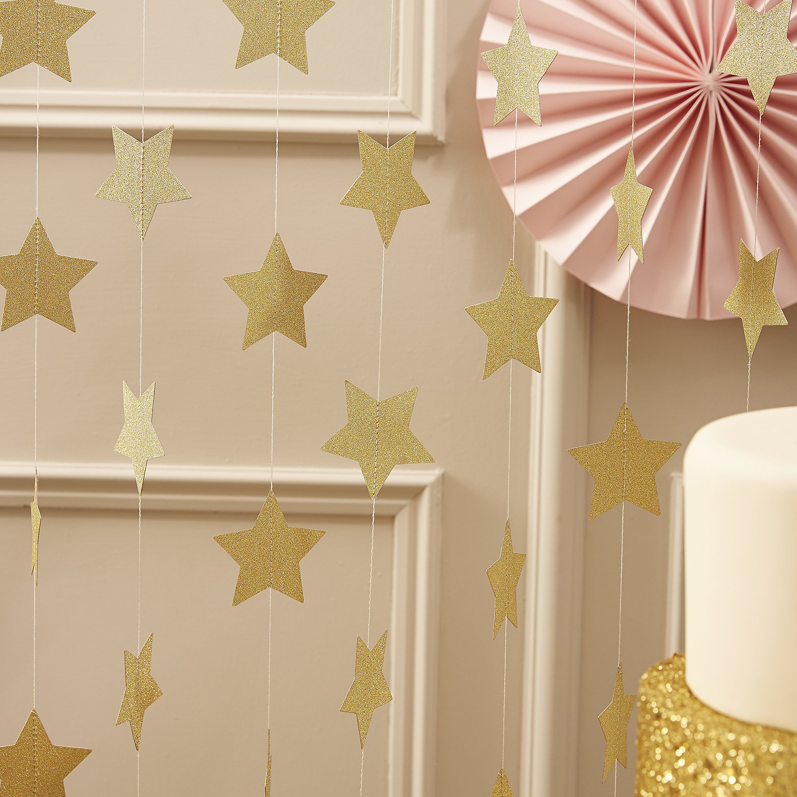Ginger Ray Gold Sparkling Star Garland Bunting For Weddings Or