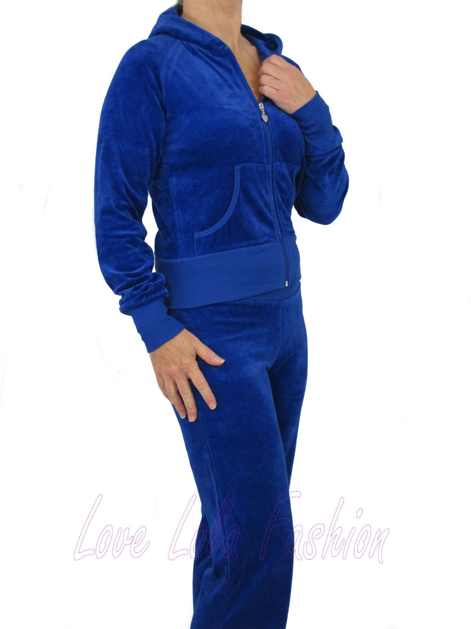 f26c577bf8d Lola Womens Velour Tracksuits Luxury Lounge Suits-Plus Size-Royal Blue