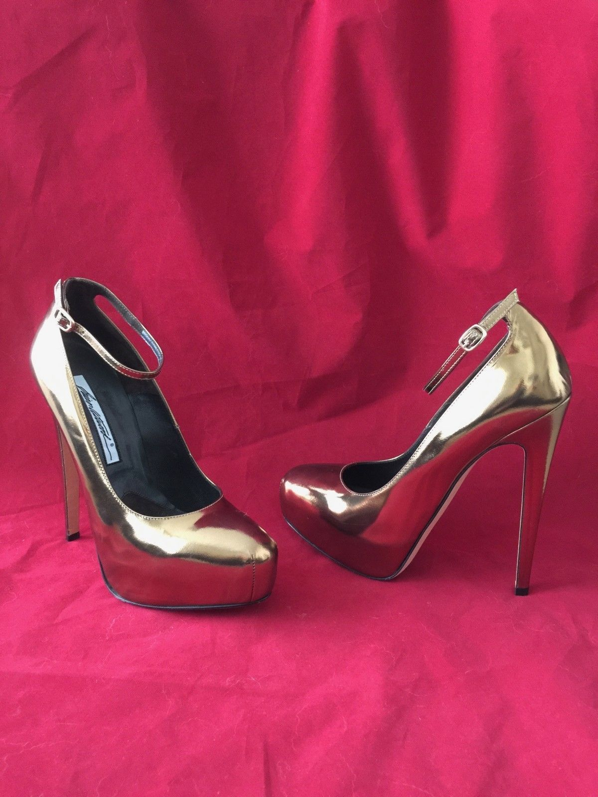 38582be6c8a BRIAN ATWOOD ZENITH GOLD LEATHER HIDDEN PLATFORM ANKLE STRAP HEELS ...