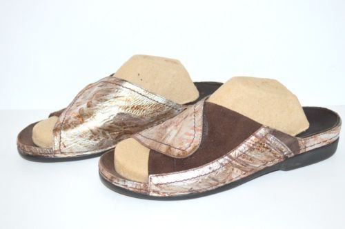 Helle Comfort Tamra Slides Sz 41 US 10 Copper $170 Summer Sandal
