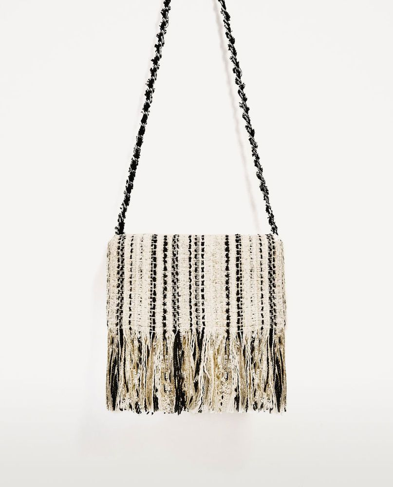 004005429e26 ZARA NEW FRINGED FABRIC CROSSBODY SHOULDER BAG CHAIN BLACK WHITE  CONTRASTING
