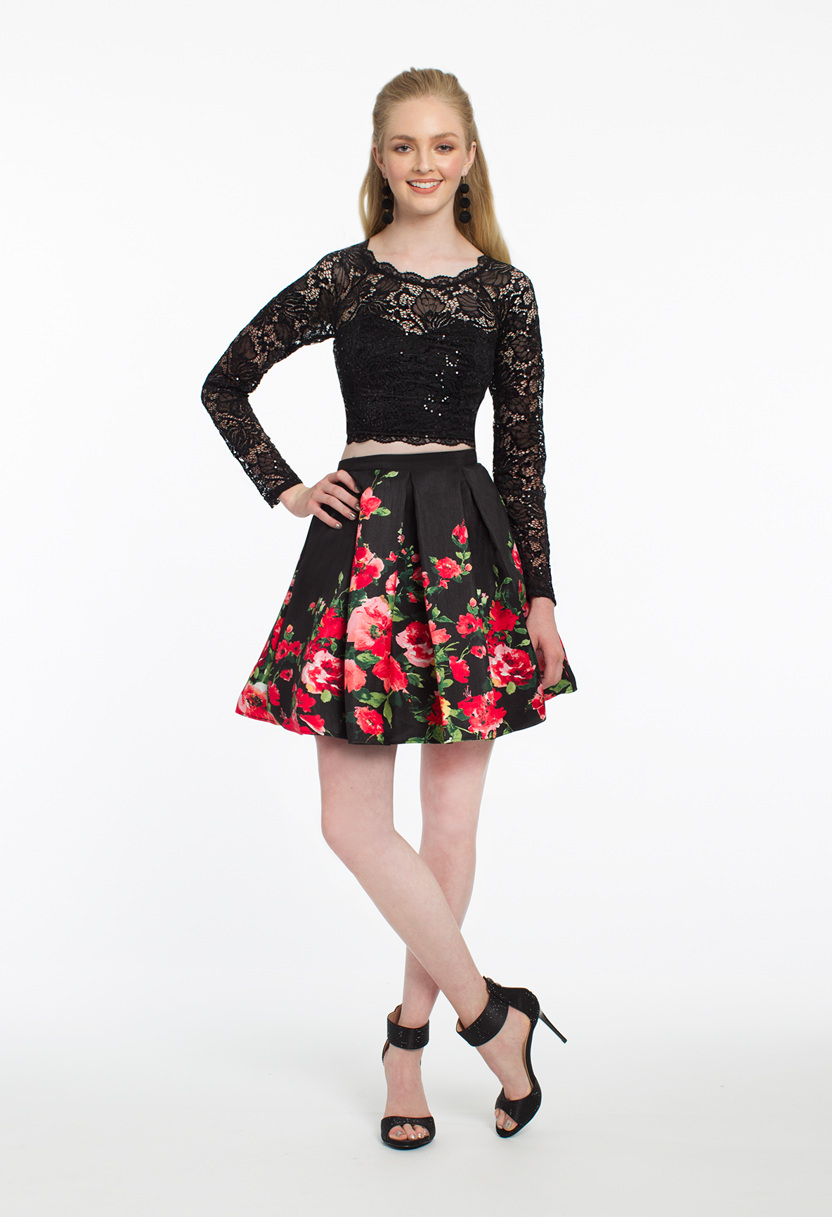 Two piece long sleeve lace rose print dress flirty florals