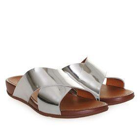 ac28cf53c93 FITFLOP Silver Metallic Leather Mules. Γυναικεία ασημί δερμάτινα σανδάλια  mules.