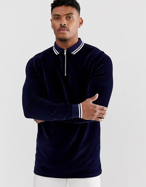 229cbec7 ASOS DESIGN long sleeve polo shirt with zip neck in ribbed velour with  contrast tipping